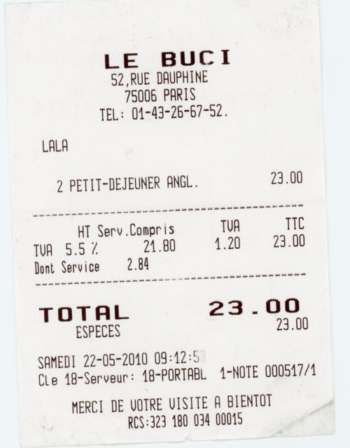 Paris - Le Buci Breakfast bill