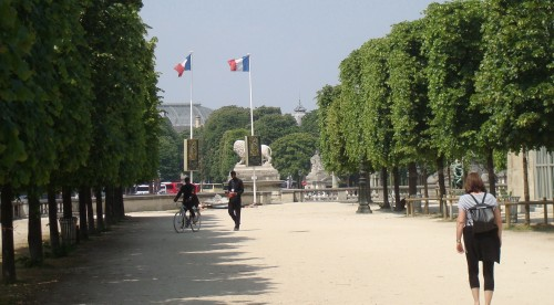 Paris - park two French flags