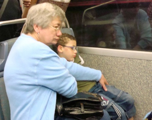 Paris - subway grandmother and child