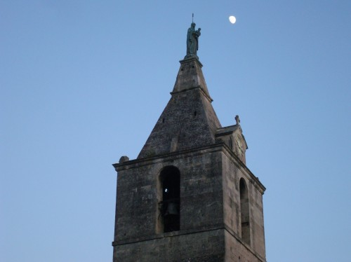 Arles - church steeple moon close up