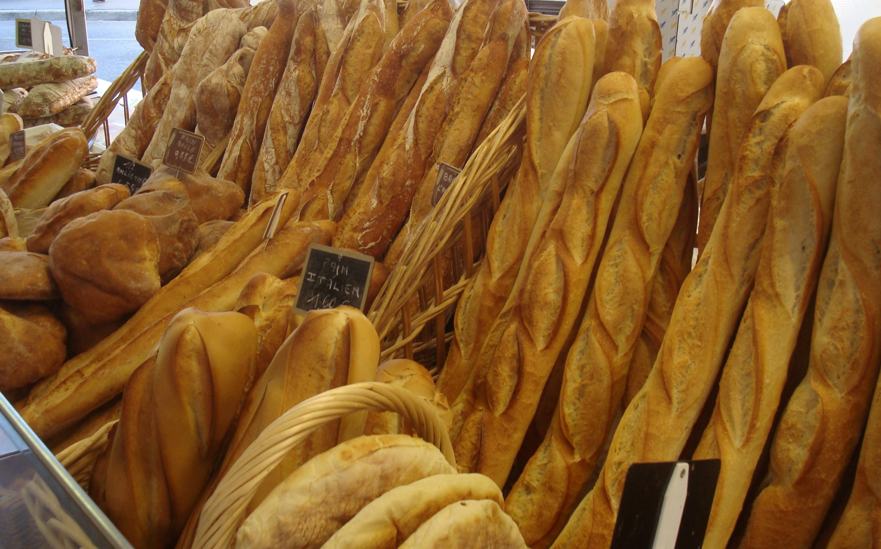 Walking baguettes in the market like the ones we had at breakfast