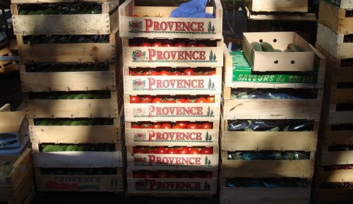 Aix - market boxes of Provence tomatos