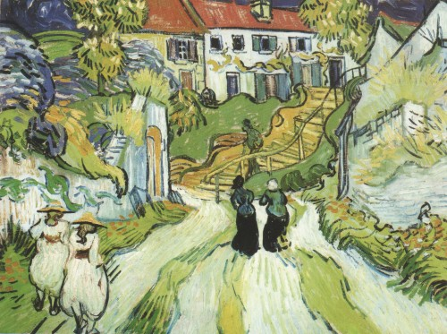 Village-Street-and-Stairs-with-Figures-in-Auvers,-Auvers-sur-Oise-1890