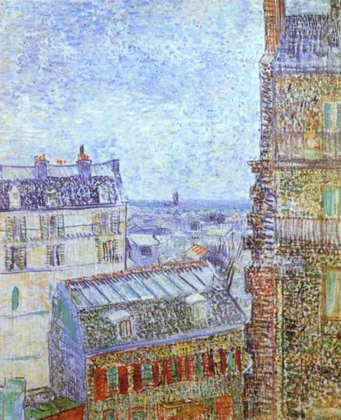 View of Paris from Vincent Van Gogh's room at 54 Rue Lepic.